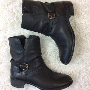 J Crew Boots Ankle Boot Leather Black Buckle 8